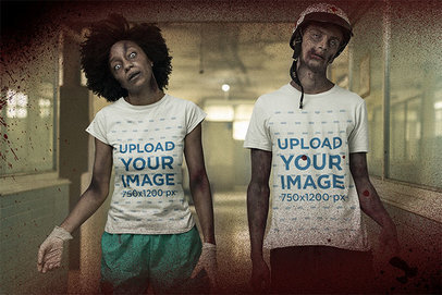 Halloween T-Shirt Mockup Featuring Two Zombies Walking in a Hospital Hall m15795