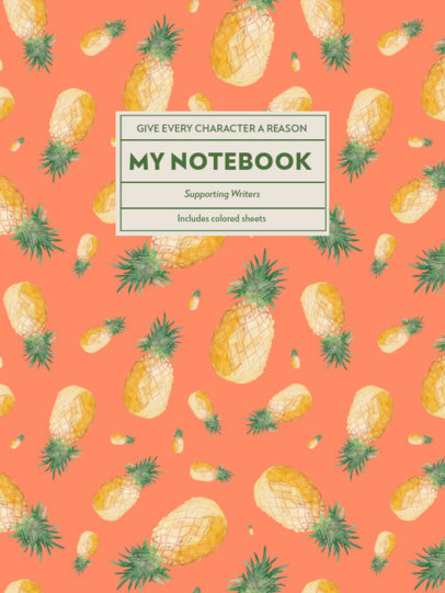 Notebook Cover Template Featuring Illustrated Pineapples 4396d-el1