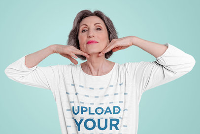 Three-Quarter Sleeve Tee Mockup of an Elderly Woman Showing Her Face m12732-r-el2