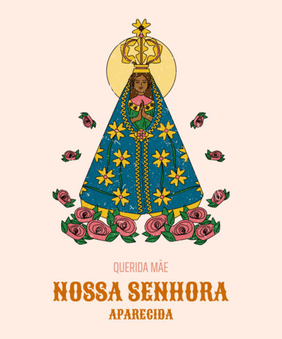 T-Shirt Design Generator Featuring an Illustration of Nossa Senhora Aparecida 4066d