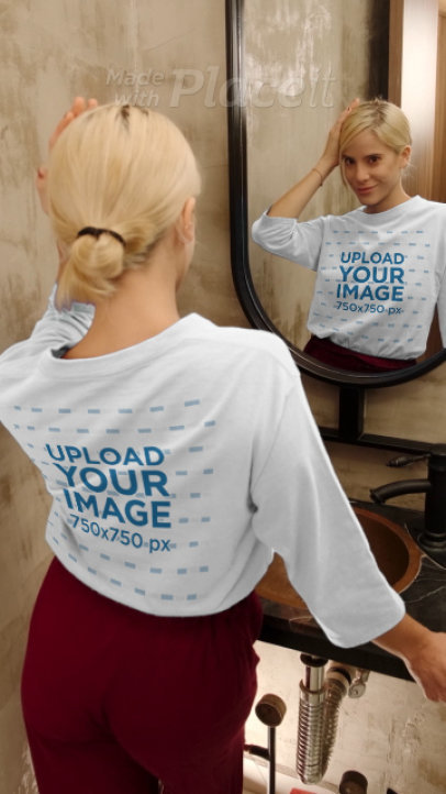 Long Sleeve Tee Video of a Woman Posing in Front of a Mirror 4046v