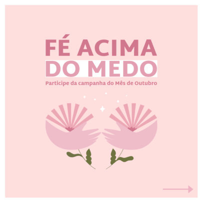 Instagram Post Design Maker With a Breast Cancer Theme and Text in Portuguese 4062a