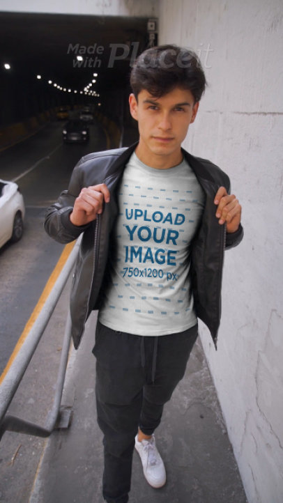 T-Shirt Video of a Young Man Wearing a Leather Garment 3582v