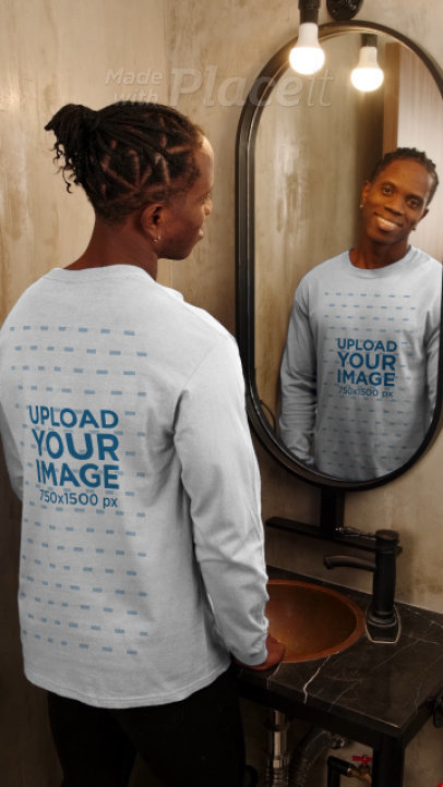 Long-Sleeve Tee Video Featuring a Man Standing in Front of a Mirror 4050v