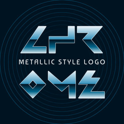 Abstract Logo Template Featuring Warped Text with Metallic Effects 4666