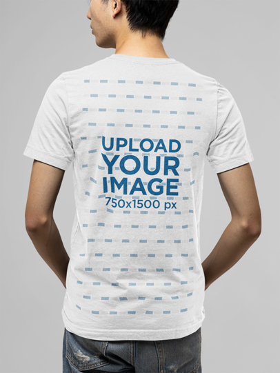 Back View Mockup Featuring a Young Man Wearing a Basic T-Shirt m13906