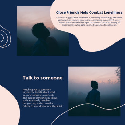 Mental Health-Themed Instagram Post Creator for a Carrousel About Loneliness 4421a-el1
