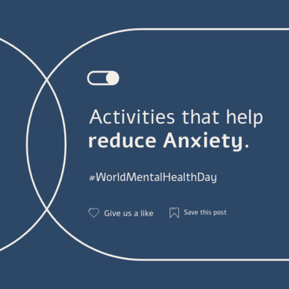 Instagram Post Template Featuring a Tip to Reduce Anxiety 4408a-el1