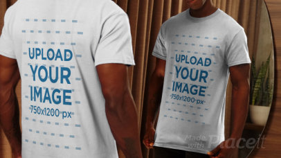 Back & Front View T-Shirt Video Featuring a Serious Man Posing in Front of a Mirror 4053v