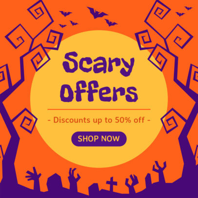 Ad Banner Generator for a Halloween Offer with Illustrated Graphics 4079b