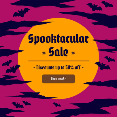 Ad Banner Maker for a Halloween Season Sale Featuring Illustrated Bats 4079f