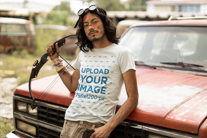 Zombie Apocalypse-Themed T-Shirt Mockup Featuring a Man Posing by an Old Truck m15765