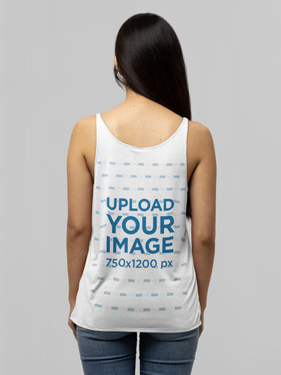 Mockup of the Back of a Dark-Haired Woman Wearing a Bella Canvas Tank Top m14310