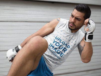 MMA Fighter Practicing Kicks While Wearing Custom Sportswear Mockup a17038