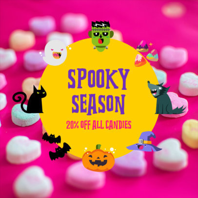 Halloween-Themed Instagram Post Maker Featuring Candy Backgrounds 4081a