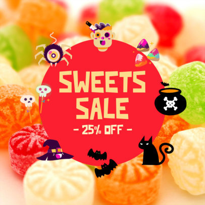 Instagram Post Creator for Candy Stores Featuring a Halloween Sale Announcement 4081g