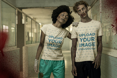 Halloween T-Shirt Mockup Featuring Two Zombies at a Hospital Hall m15794