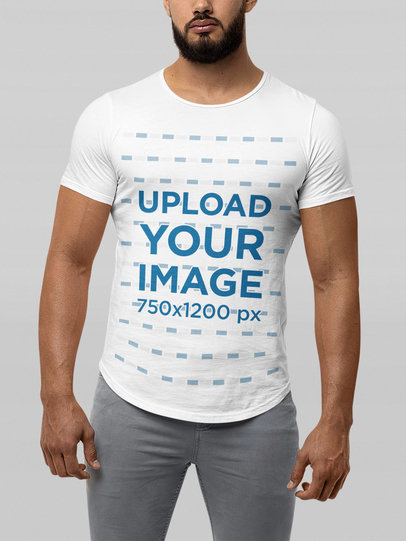 Mockup of a Bearded Man Wearing a Bella Canvas Tee with a Curved Hem m13933