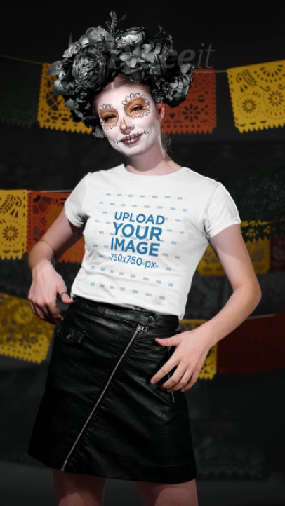 Video of a Woman in a Dia de Muertos Costume Pointing at Her Tee 4103v