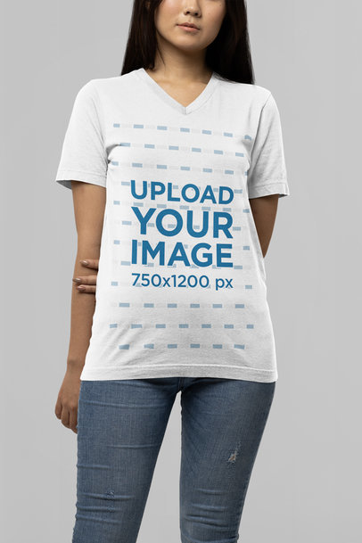 Bella Canvas V-Neck Tee Mockup Featuring a Young Woman m14365
