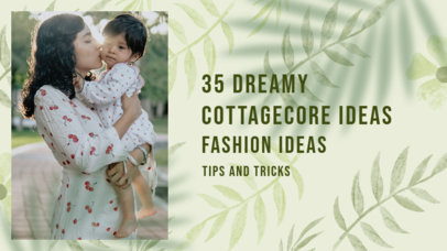 Cottagecore-Themed YouTube Thumbnail Design Template for a Fashion Vlogger 4098