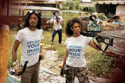 T-Shirt Mockup Featuring Two Zombie Apocalypse Survivors Holding Rifles m15758