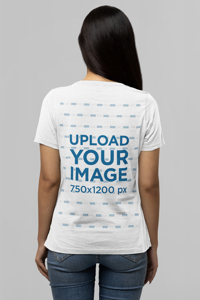 Back-View T-Shirt Mockup of a Long-Haired Woman Standing in a Studio m14364