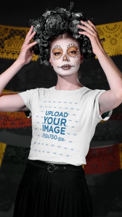 T-Shirt Video Featuring a Woman Wearing Dia de Muertos Makeup 4105v