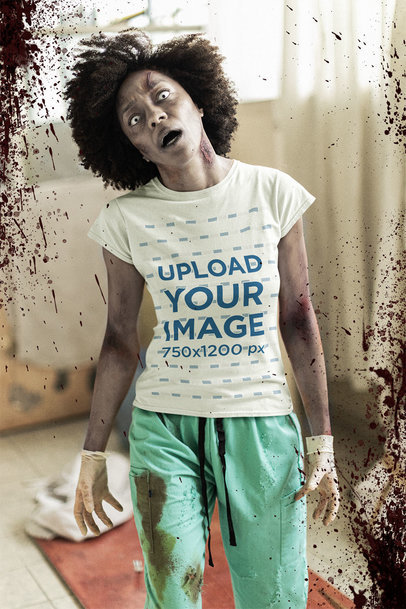 T-Shirt Mockup Featuring a Zombie at a Hospital m15799