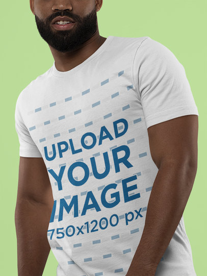 Bella Canvas Tee Mockup of a Bearded Man Against a Solid Background M13945