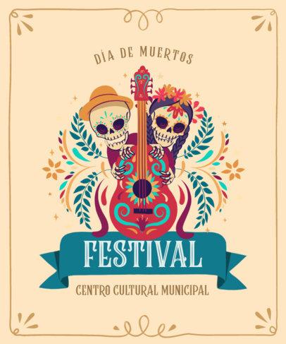Illustrated T-Shirt Design Template for a Dia de Muertos Festival 4102c