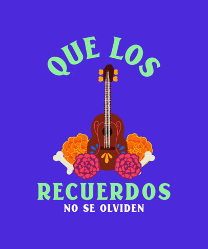 Dia de Muertos-Themed T-Shirt Design Maker with an Illustrated Ukulele 4104f
