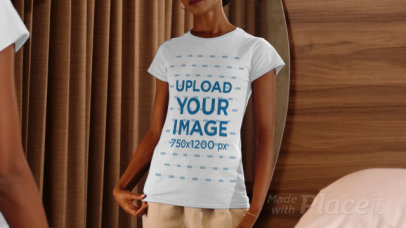 Both Sides T-Shirt Video Featuring a Young Woman Posing by a Mirror 4054v
