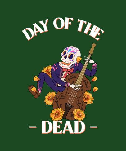 Dia de Muertos-Allusive T-Shirt Design Template With Illustrations 4103a