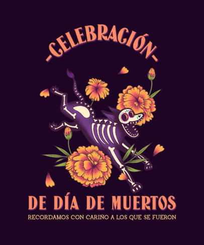 Dia de Muertos-Inspired T-Shirt Design Template 4103b