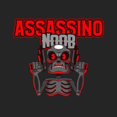Logo Generator for Gaming Squads Featuring a Skull With Guns 4657b