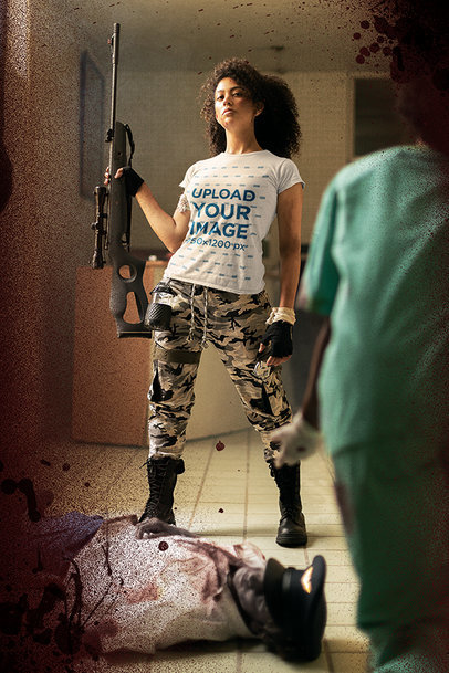 T-Shirt Mockup Featuring a Proud Young Woman Holding a Rifle m15744