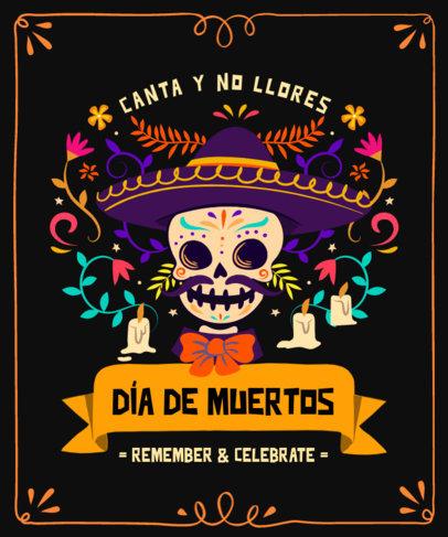 T-Shirt Design Template for Dia de Muertos Featuring a Mariachi Skeleton 4102e