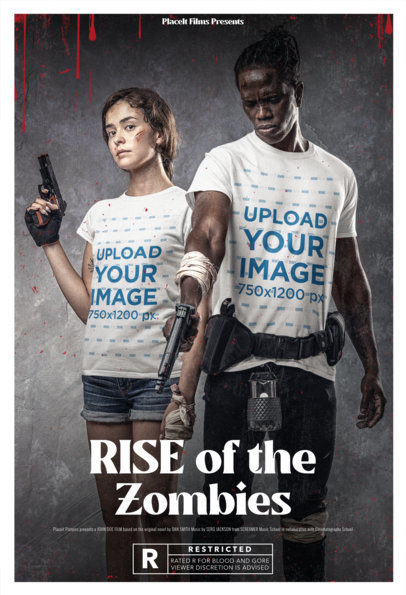 Poster-Styled T-Shirt Mockup of Two Zombie Apocalypse Survivors Holding Guns m15867