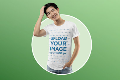 Bella Canvas T-Shirt Mockup Featuring a Charismatic Young Man m13958