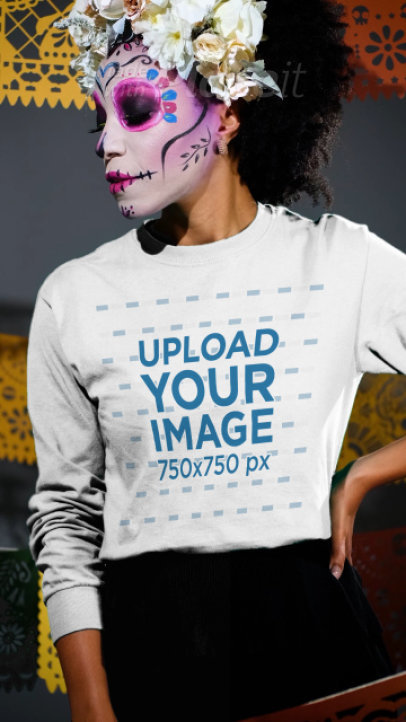 Long Sleeve Tee Video of a Woman with Mexican Catrina Makeup for Dia de Muertos 4108v