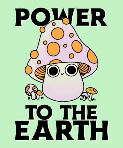 Fun T-Shirt Design Template with Cartoonish Illustrations of Mushrooms 4122