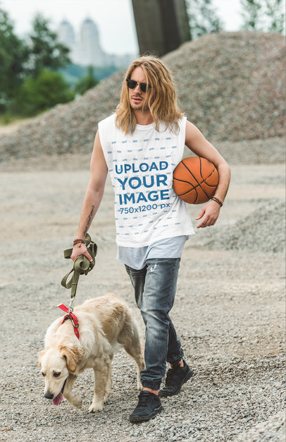 Sleeveless Shirt Mockup Featuring a Serious Long-Haired Man m14288-r-el2