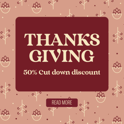 Ad Banner Design Template With a Thanksgiving Day Theme Featuring Discounts 4128e
