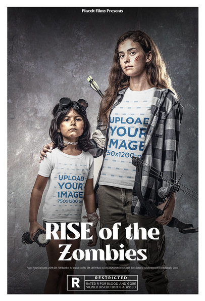 T-Shirt Mockup of Two Sisters Surviving the Zombie Apocalypse m15889