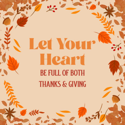 Instagram Post Design Template Featuring a Thanksgiving Quote 4127b