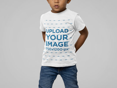 Mockup of a Little Boy Wearing a Basic Bella Canvas T-Shirt M14950