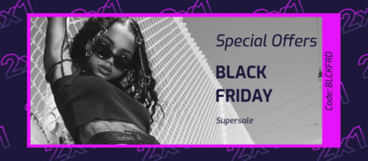 Facebook Cover Maker Featuring a Promo Code for a Special Black Friday Offer 4133c