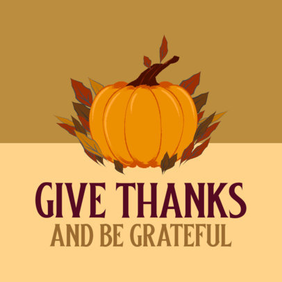 Instagram Post Generator for Thanksgiving with a Pumpkin Graphic 4126a