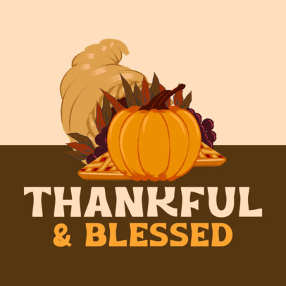 Instagram Post Design Maker with a Grateful Quote for Thanksgiving 4126b